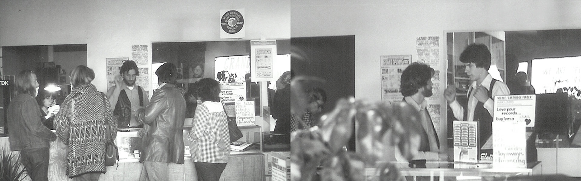 Left to right: Bob at the counter helping customers. Bob and Ron chatting about their first day.
