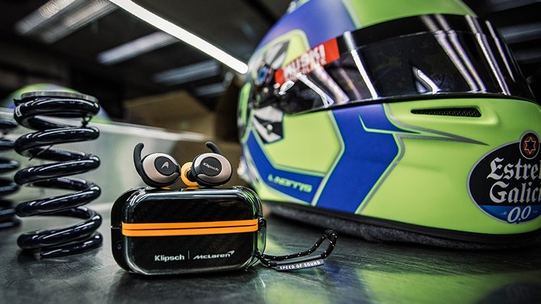 Earbuds on the case and motorcycle helmet