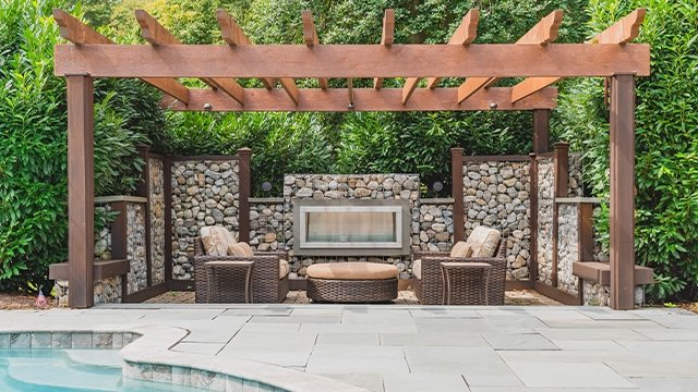 outdoor fire pit and outdoor speakers