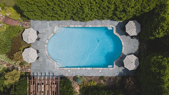 overhead view of in-ground pool