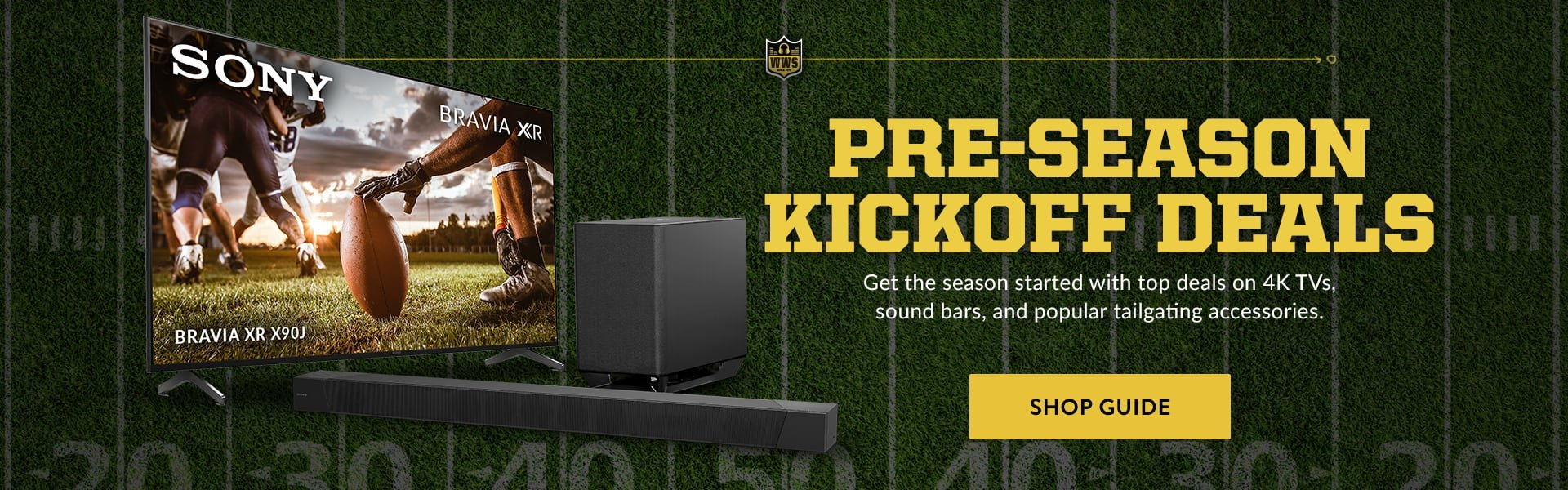 Save on TVs, sound bars, and other football accessories.
