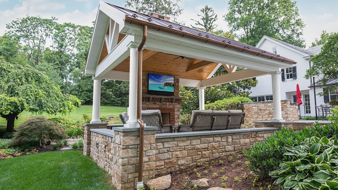 Covered patio with outdoor tv and speakers installed