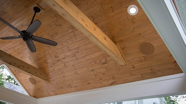 In ceiling speakers installed in covered patio