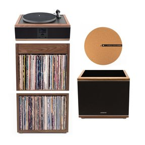 """Model-One Turntable with 10"""" Subwoofer, Upper and Lower Stand and 12"""" Cork Turntable Slipmat"""
