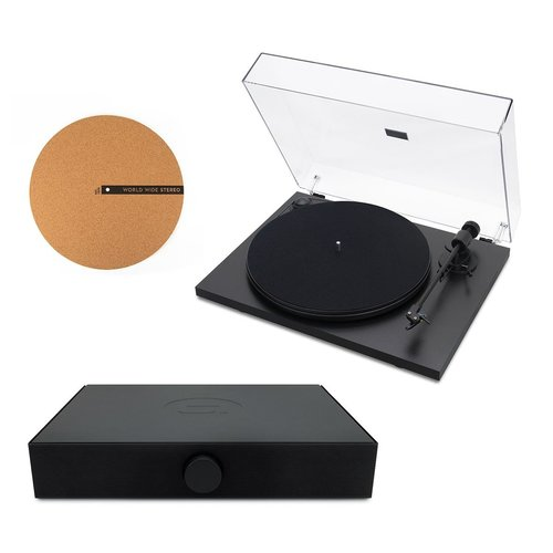 """View Larger Image of Spindeck Plug-and-Play Turntable with Speaker System and 12"""" Cork Turntable Slipmat"""