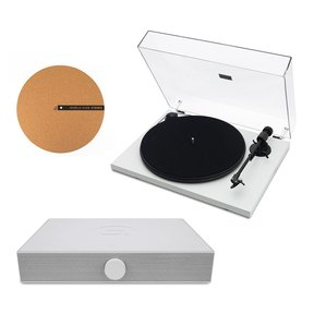 """Spindeck Plug-and-Play Turntable with Speaker System and 12"""" Cork Turntable Slipmat"""