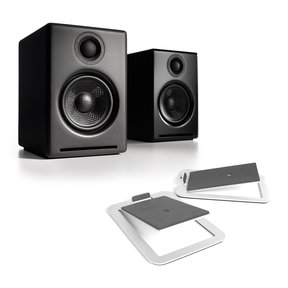 A2+ Premium Powered Wireless Desktop Speakers with S4 Desktop Speaker Stands - Pair (Aluminum)