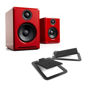 A2+ Premium Powered Wireless Desktop Speakers with S4 Desktop Speaker Stands - Pair (Black)