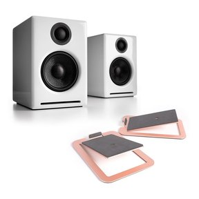 A2+ Premium Powered Wireless Desktop Speakers with S4 Desktop Speaker Stands - Pair (White)
