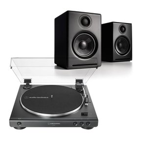 AT-LP60X Fully Automatic Belt-Drive Stereo Turntable with Audioengine A2+ Wireless Speaker System