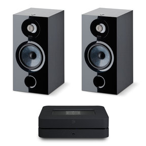 Chora 806 Bookshelf Speakers - Pair (Black) with Bluesound Powernode 2i V2 Stereo Speaker System