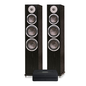 Powernode 2i V2 Stereo Speaker System with KLH Kendall 3-Way Floorstanding Speakers - Pair (Black Oak)