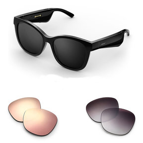 Soprano Cat-Eye Bluetooth Audio Sunglass Frames with Two Replacement Lenses (Mirrored Rose Gold and Purple Fade)
