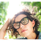 View Larger Image of Soprano Cat-Eye Bluetooth Audio Sunglass Frames with Two Replacement Lenses (Mirrored Rose Gold and Purple Fade)