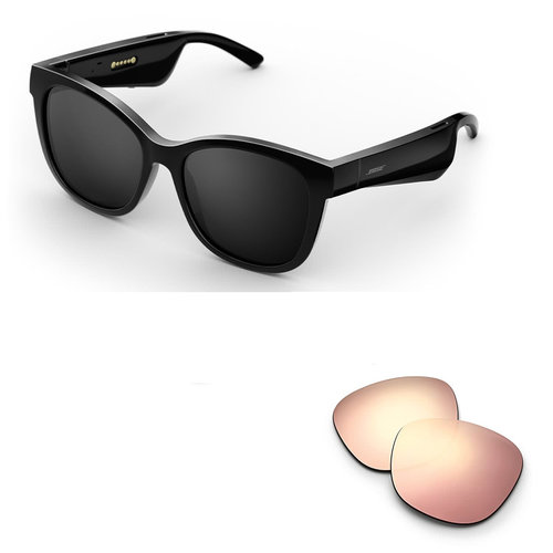 View Larger Image of Soprano Cat-Eye Bluetooth Audio Sunglass Frames with Replacement Lense (Mirrored Rose Gold)