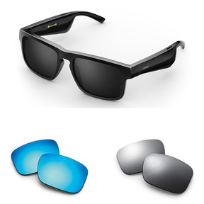 Tenor Rectangular Bluetooth Audio Sunglass Frames with Two Replacement Lenses (Mirrored Blue and Mirrored Silver)
