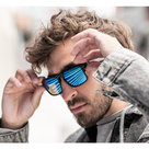 View Larger Image of Tenor Rectangular Bluetooth Audio Sunglass Frames with Replacement Lense (Mirrored Blue)