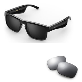 Tenor Rectangular Bluetooth Audio Sunglass Frames with Replacement Lense (Mirrored Silver)
