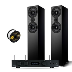 SX-80 Floorstanding Speaker Pair with Audiolab 6000A PLAY Integrated Amplifier and World Wide Stereo 14-Gauge, 2-Conductor Speaker Wire - 50 Feet