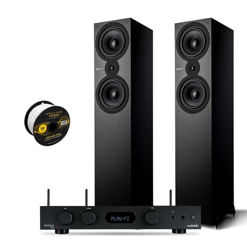 View Larger Image of SX-80 Floorstanding Speaker Pair with Audiolab 6000A PLAY Integrated Amplifier and World Wide Stereo 14-Gauge, 2-Conductor Speaker Wire - 50 Feet