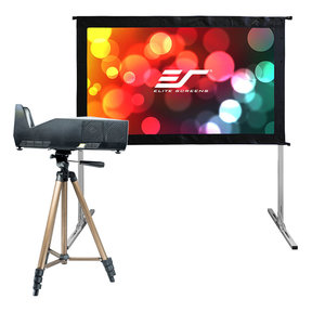"Movie Night Bundle Yard Master 2 58"" Outdoor Projector Screen & MosicGO Sport Battery Powered Ultra Short Throw Projector"