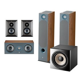Chora 5.1.2 Surround Sound Speaker Package with Built-In Dolby Atmos Modules and On-Wall Surround Speakers (Dark Wood)