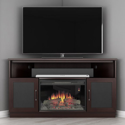 """View Larger Image of 60"""" FT60CCCFB Corner Electric Fireplace TV Stand (Wenge)"""