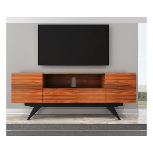 "View Larger Image of 78"" FT78PF Stunning Mid-Century TV Stand Media Console (Iron Wood)"