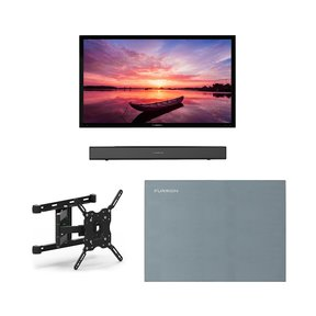 """FDUF49CBR 49"""" 4K Full Shade Outdoor TV bundle with 2.1-Channel Soundbar, TV Mount, and Weatherproof TV Cover"""