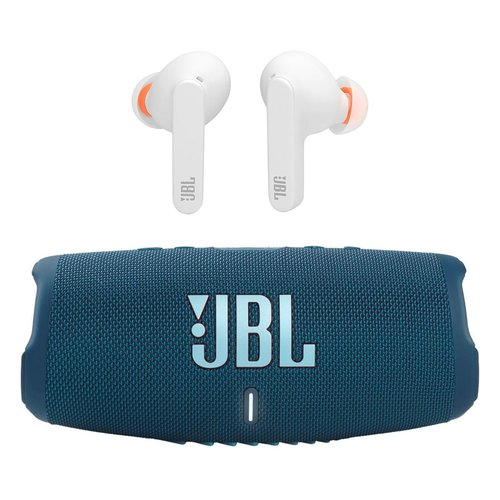 View Larger Image of Charge 5 Portable Waterproof Bluetooth Speaker (Blue) with Live Pro+ TWS In-Ear Noise-Cancelling Bluetooth Headphones (White)