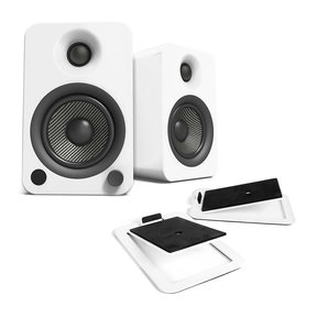 YU4 Powered Bookshelf Speakers with Built-In Bluetooth and S4 Desktop Speaker Stands - Pair