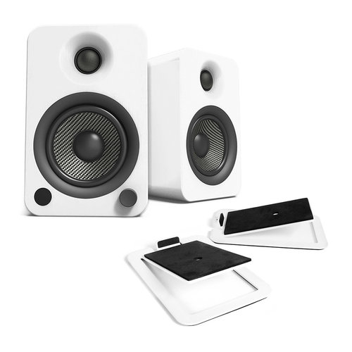 View Larger Image of YU4 Powered Bookshelf Speakers with Built-In Bluetooth and S4 Desktop Speaker Stands - Pair