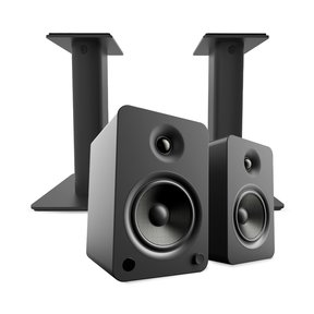 YU6 Powered Bookshelf Speakers with Bluetooth (Matte Black) with SP9 Desktop Stands (Black)