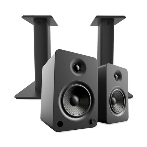 View Larger Image of YU6 Powered Bookshelf Speakers with Bluetooth (Matte Black) with SP9 Desktop Stands (Black)