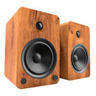 View Larger Image of YU6 Powered Bookshelf Speakers with Bluetooth (Walnut) with SP9 Desktop Stands (Black)