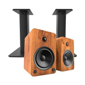 YU6 Powered Bookshelf Speakers with Bluetooth (Walnut) with SP9 Desktop Stands (Black)