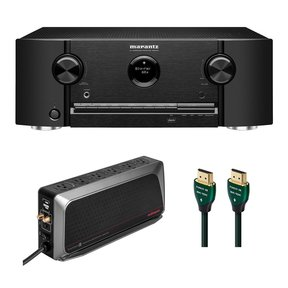 SR5015 7.2-Channel 8K AV Receiver with 6-Outlet Surge Protector and 8K-10K 48Gbps HDMI Cable - 7.38 ft. (2.25m)