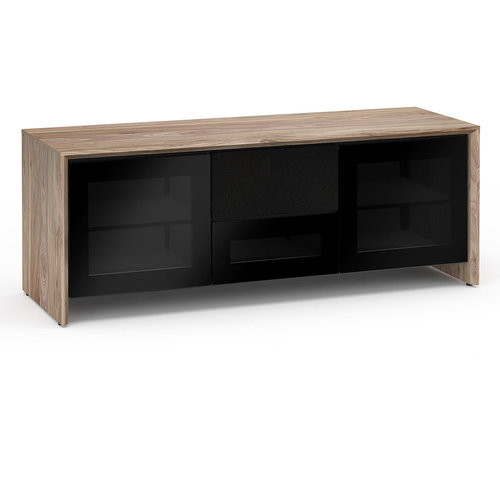 View Larger Image of Chameleon Collection Barcelona 236 Triple-Width AV Cabinet (Natural Walnut with Black Glass Doors)
