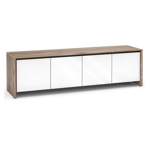View Larger Image of Chameleon Collection Barcelona 247 Quad-Width AV Cabinet (Natural Walnut with Gloss White Doors)