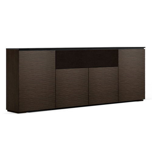 View Larger Image of Chameleon Collection Berlin Low Profile 345 Four-Bay AV Cabinet with Speaker Compartment (Textured Wenge)