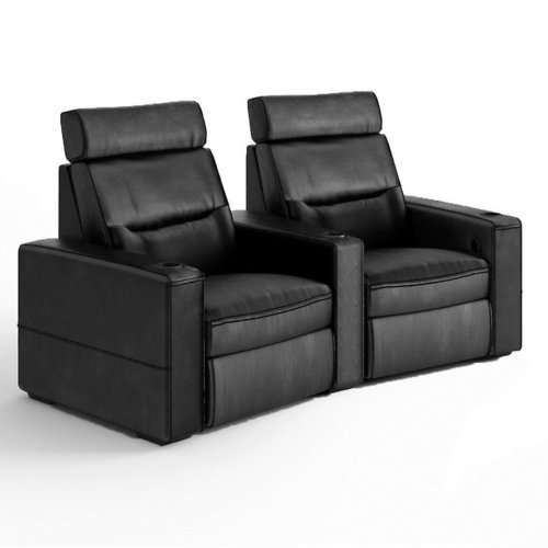 View Larger Image of TC3 AV Basics 2-Seat Wedge Motorized Recliner Home Theater Seating (Black Bonded Leather)