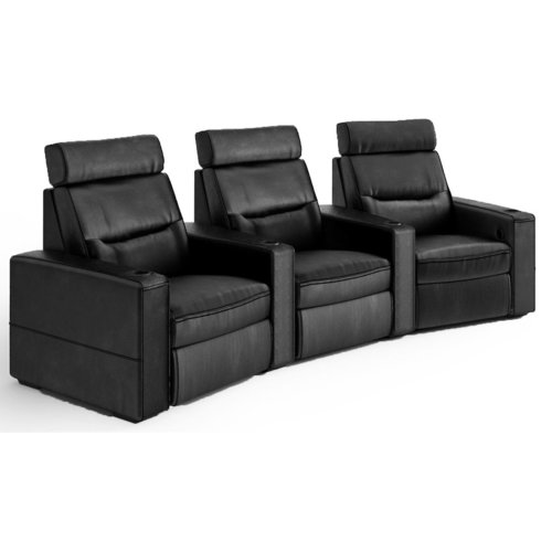 View Larger Image of TC3 AV Basics 3-Seat Wedge Motorized Recliner Home Theater Seating (Black Bonded Leather)