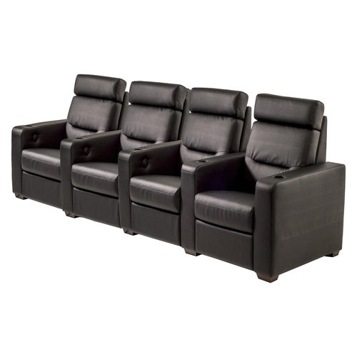 View Larger Image of TC3 AV Basics 4-Seat Straight Motorized Recliner Home Theater Seating (Black Bonded Leather)
