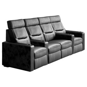 TC3 AV Basics 4-Seat with Loveseat Straight Motorized Recliner Home Theater Seating (Black Bonded Leather)