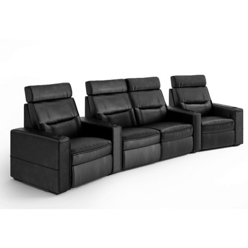 View Larger Image of TC3 AV Basics 4-Seat with Loveseat Wedge Motorized Recliner Home Theater Seating (Black Bonded Leather)
