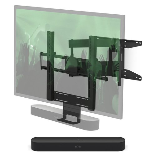 View Larger Image of Beam Compact Smart Sound Bar with Flexson Cantilever Mount (Black)