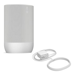 Move Durable, Battery-Powered Smart Speaker with Additional Charging Base (White)
