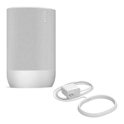 View Larger Image of Move Durable, Battery-Powered Smart Speaker with Additional Charging Base (White)