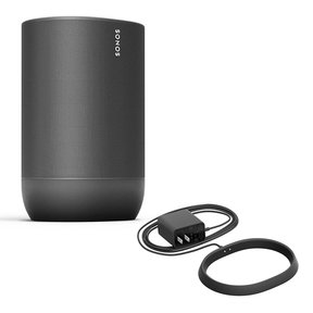 Move Durable, Battery-Powered Smart Speaker with Additional Charging Base (Black)