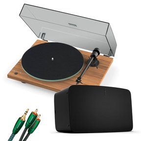 Vinyl Set with Five Wireless Speaker with Pro-Ject T1 Reference Turntable (Walnut) and 3.5mm Male to RCA Male Cable